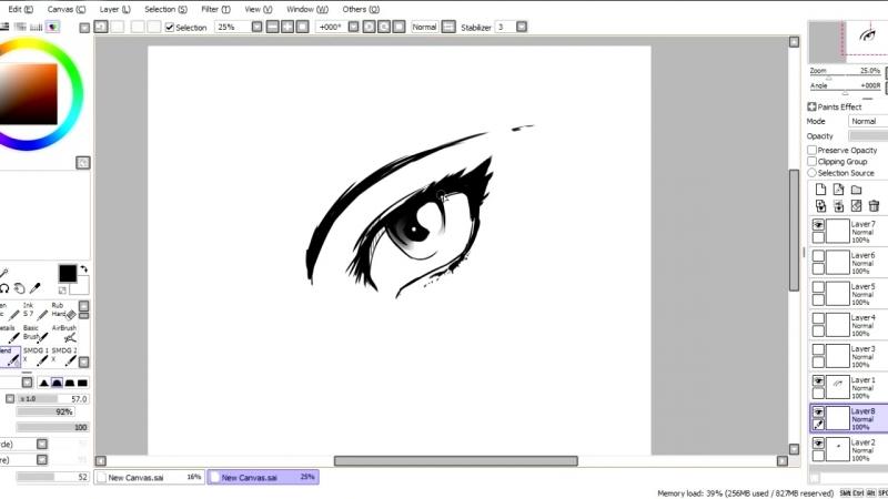 Миёк и [Уроки SAI Paint Tool] 04 - Рисуем мультяшный глаз