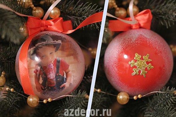 Новогодние шары своими руками из фото