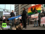 Ukraine Anti-gay protesters say no 'EU homo zoo' in their 'traditional values' country