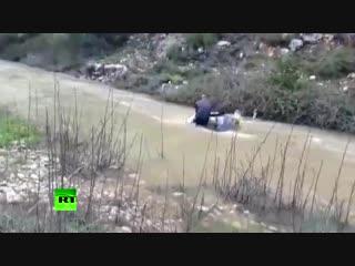 Двое мужчин спасаются из тонущего автомобиля в Израиле  видео