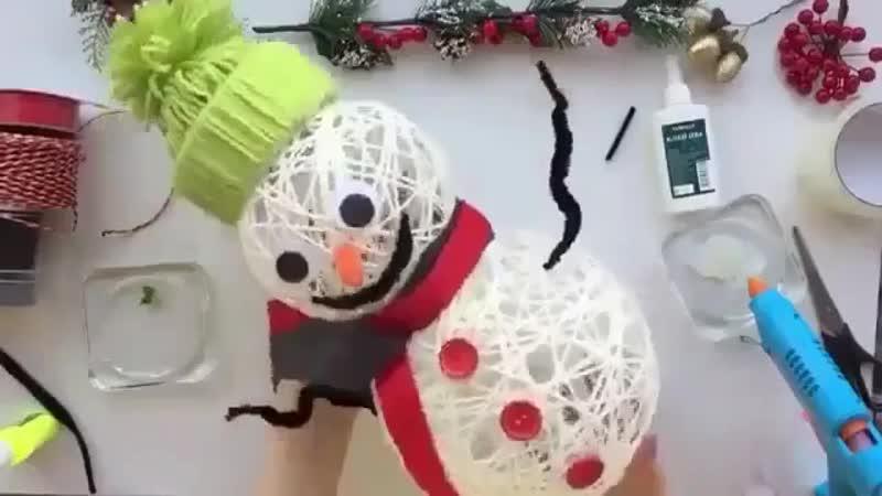 Снеговик к Новому году своими руками Совсем несложно 👌🏻