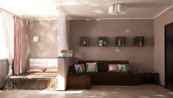 Зонирование спальни и гостиной фото