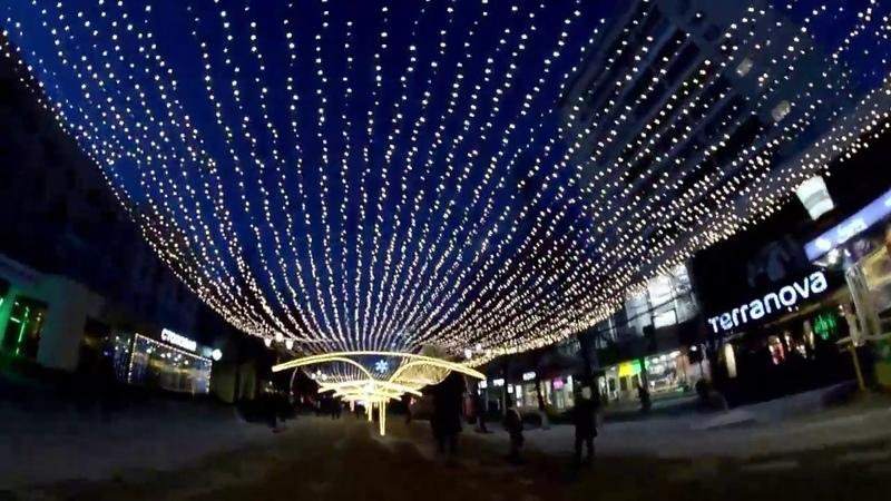 Челябинск праздничная иллюминация ул Кирова пешеходная часть