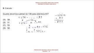 Cálculo Valor Desconhecido Questão 9 Matemática