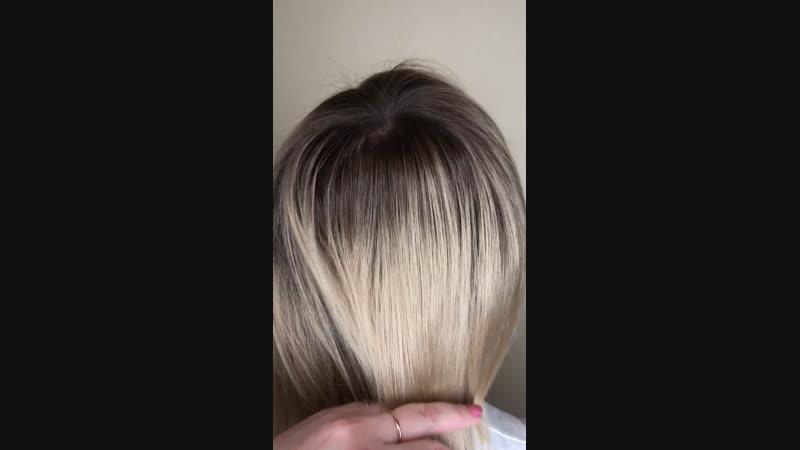 Из тотального блонда в объёмный цвет🤗
