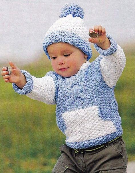 Вязаный джемпер с карманом и шапочка (3 фото) - картинка