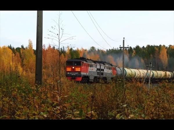 Свист турбокомпрессора Тепловоз 2ТЭ116 139 с грузовым поездом