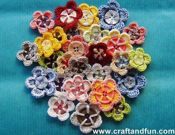 Ideas para el hogar: Flores de ganchillo usando botones mirá que fácil