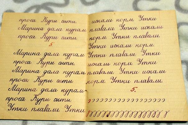 Тетради по чистописанию и русскому языку советских школьников. А вам слабо так написать, да еще и перышком