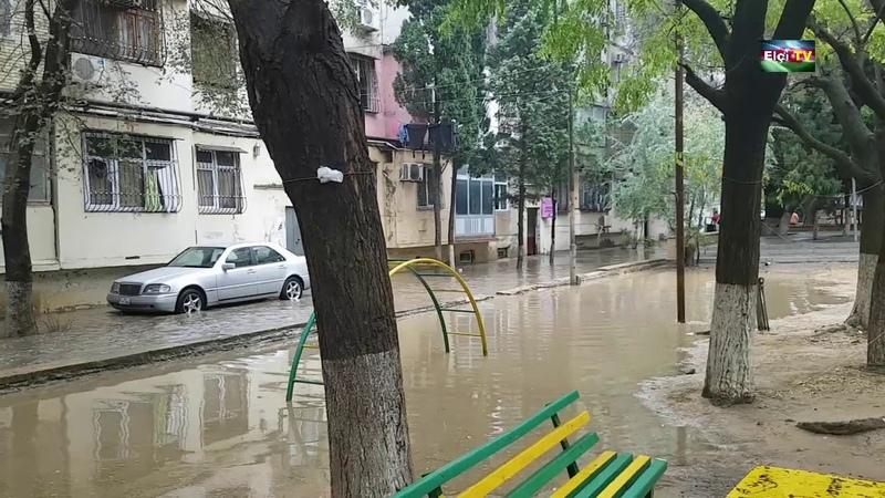 Bakı 15 dəqiqəlik Leysan yağışına dözüm gətirmədi..
