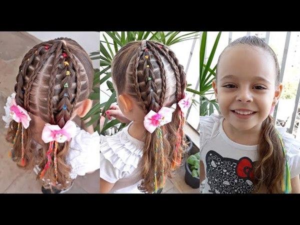 Penteado Infantil arco-íris com tranças e Maria Chiquinha