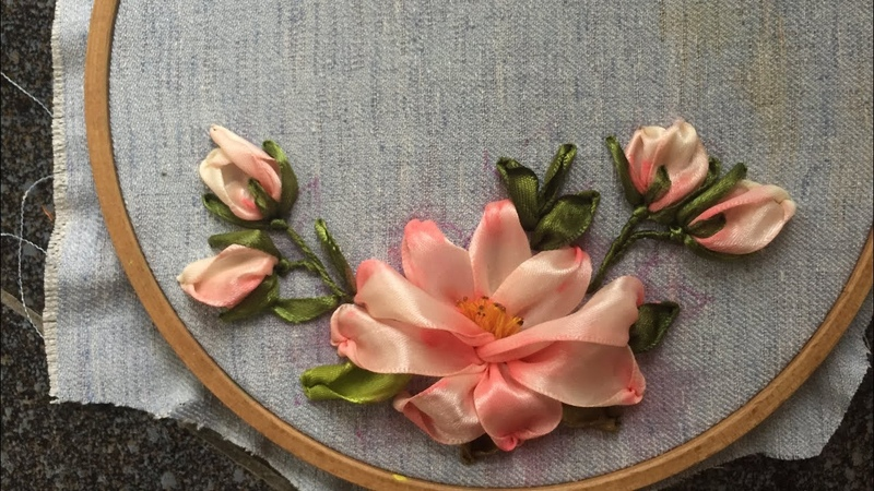 D.I.Y Ribbon Embroidery Hướng dẫn thêu ruy băng hoa trà