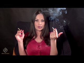Abbie Cat pumping 3 cigars