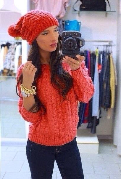 Красный Пуловер С Косами Доставка