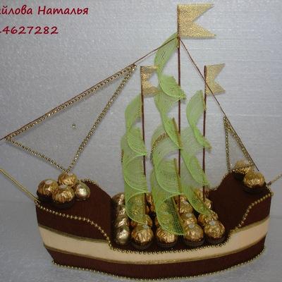 Корабль из конфет и бутылки 2