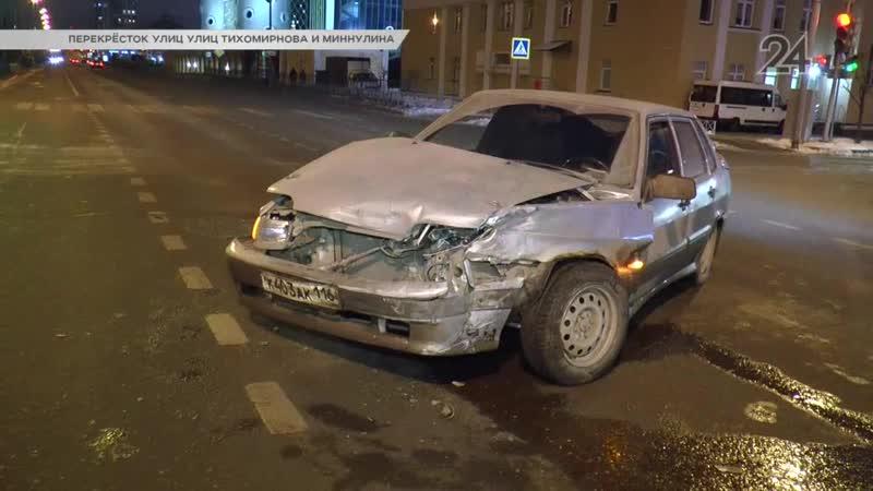 В Казани на перекрестке улиц Тихомирнова и Миннулина столкнулись две «Лады»
