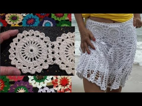 Круглые мотивы для летней юбки крючком