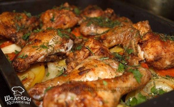 Курица запеченная в духовке с картошкой на кефире рецепт