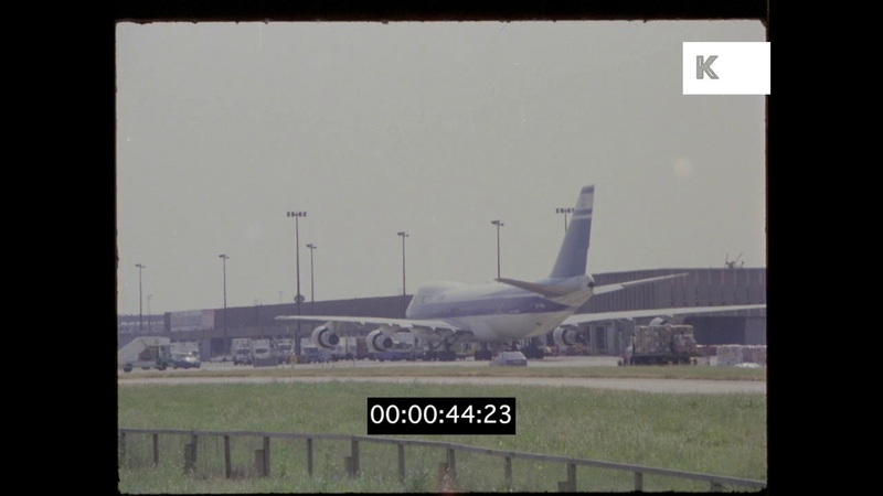 Cargo Loading at Airport, Planes on Tarmac, 80s, 90s, Israel, HD