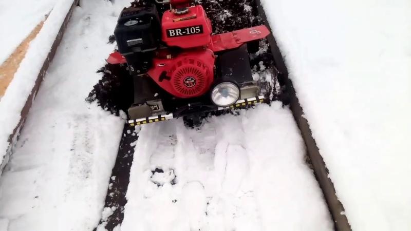 Вспашка Земли Мотоблоком BRAIT 13 л.с Зимой.