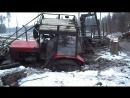 Очень опасная работа на тракторах в лесу