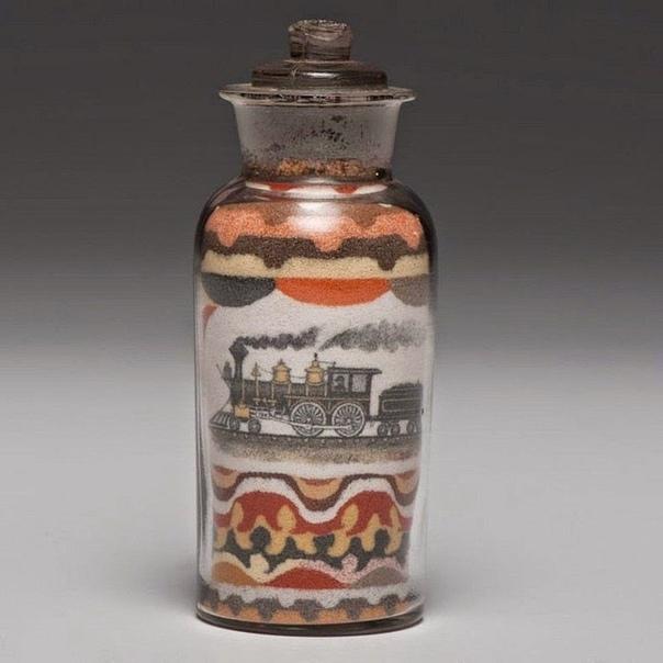 Подборка музейных экспонатов 19 века. Рисунки разноцветным песком. Жил в конце 19 века в США некий Эндрю Клеменс. И прославился он тем, что придумал как рисовать при помощи разноцветного песка.