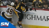 Matt Grezlycks Arm Pinned Against Glass After Awkward Hit From Patric Hornqvist