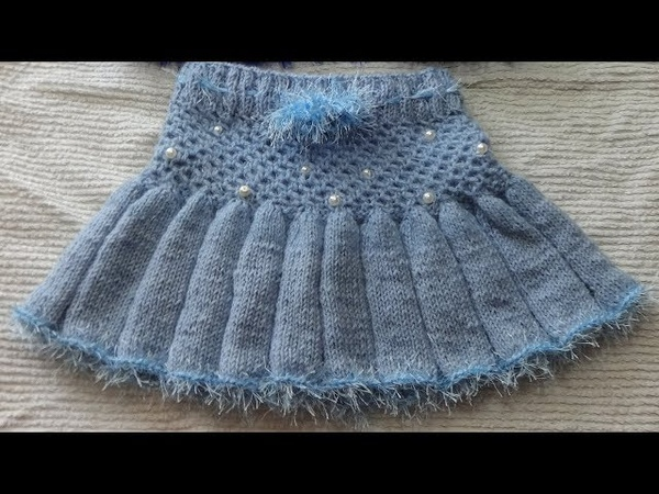 Юбочка (юбка) на девочку 3 года. Вязание спицами