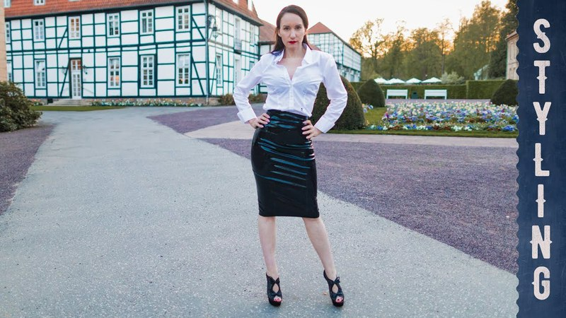 Latex Skirt, Peeptoe High Heels, Blouse - Styling Lookbook mit Latexkleidung, Latexrock - Lookbook