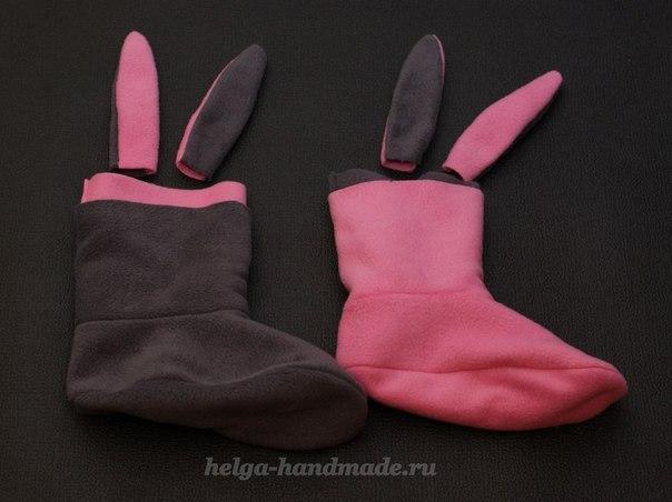 Шьем сами теплые и мягкие Тапочки-Зайчики основу обводим со своей ноги на бумагу ....