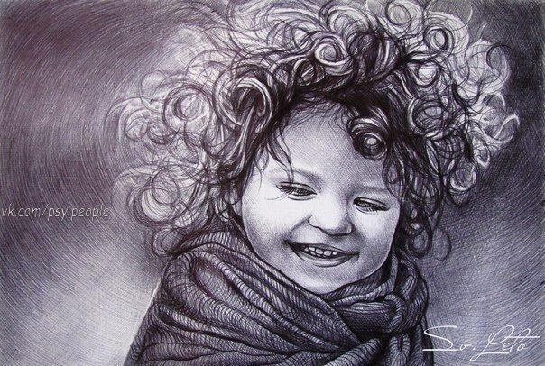 Восхитительные портреты, нарисованные чёрной шариковой ручкой, от художницы Светланы Куржонковой