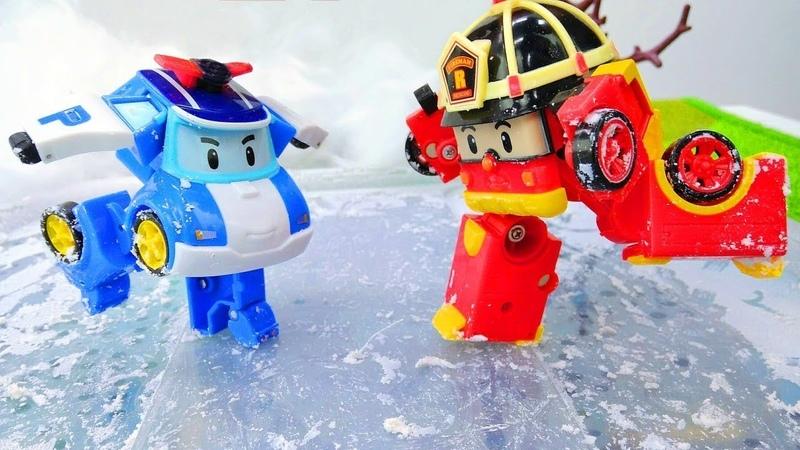 Araba oyunları. Robocar Poli ve ekibi buz pisti yapıyor!