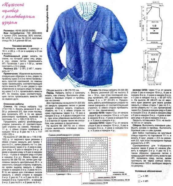 Мужской пуловер схемы