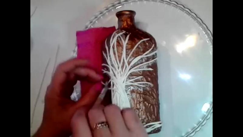Декор бутылок денежное дерево своими руками. Декупаж декорир
