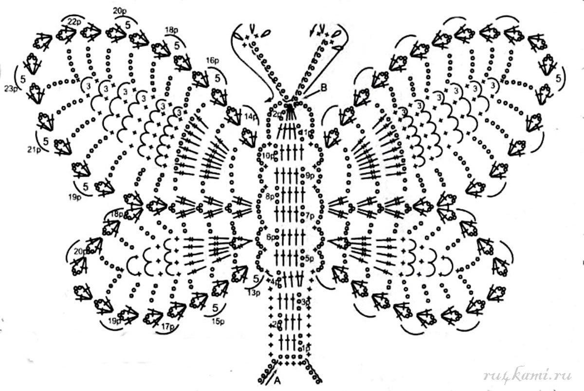 Узоры для вязания крючком бабочка 266