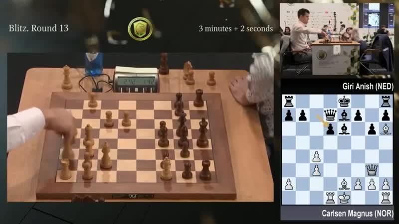 Blitz Round 13 - Carlsen vs Giri Bishop battle ! World blitz champion ship 2018