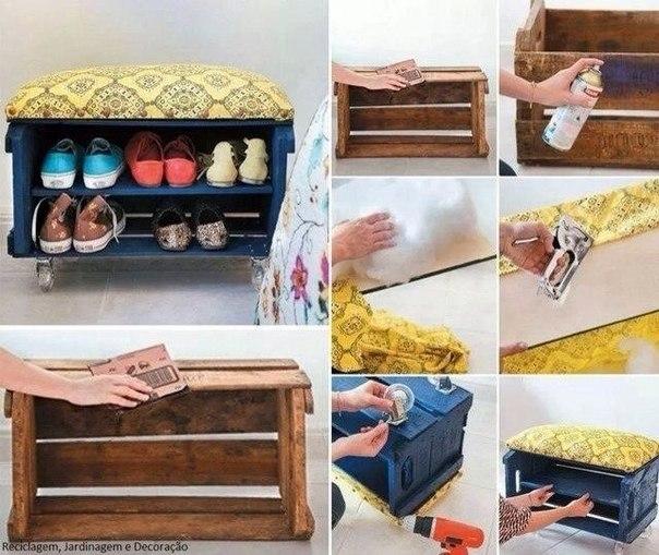 Делаем симпатичный комод для обуви из старого ящика