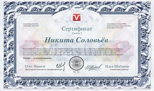 Сертификат второго уровня