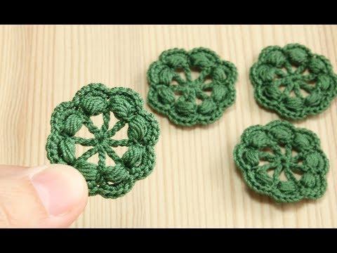 Вязание крючком простой маленький ЦВЕТОЧЕК с пышными столбиками crochet small flower