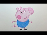 Dibujando y pintando a George el cerdito - Drawing George Pig