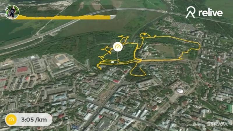 Рязанский спринт-тур. Этап 5 в Рязанском Кремле. Трек дистанции Д1 на relive