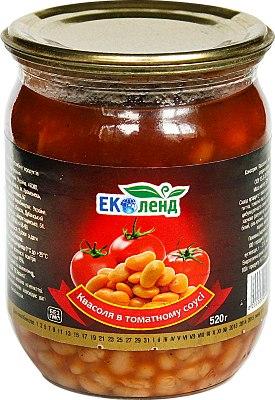 Квасоля в томатному соусі, Еколенд, 500 мл