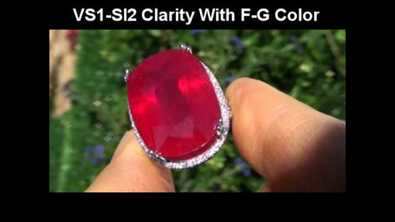 HUGE 35.16 Carat Pigeons Blood Red Ruby Diamond Cocktail Ring - 88 Diamonds Sold Gold