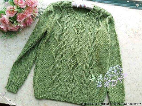 Пуловер с интересным узором (6 фото) - картинка