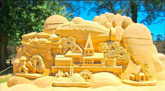 загублений світ, скульптури з піску, золотий пензлик