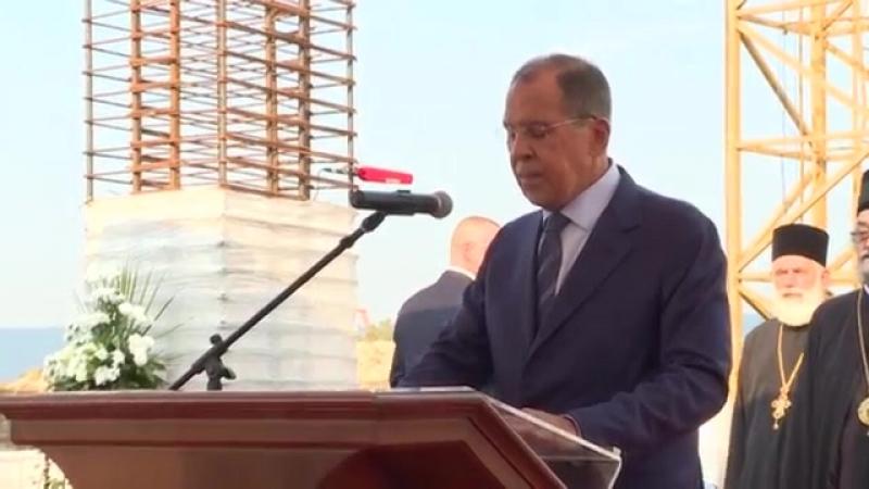 С.В.Лавров на церемонии открытия памятной доски на месте строительства Русско-сербского храма