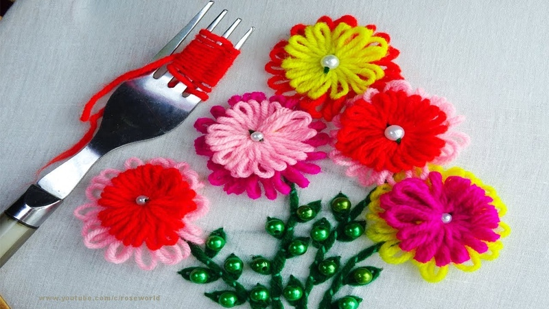 Sewing Hack with Wool Yarn and Fork|Hand Embroidery amazing Tricks 12|super easy embroidery trick