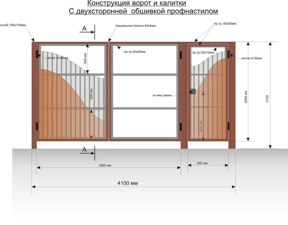 ворота из профнастила чертеж