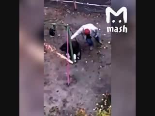 В Брянске супружескую пару достали орущие под окном дети, и они, вооружившись болгаркой и ещё одним соседом, пошли спиливать кач