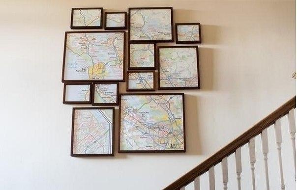 Украшаем дом: делаем стильное панно из ненужной карты    #декор #интерьер #diy